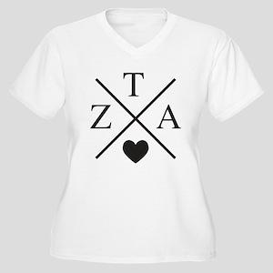 Zeta Tau Alpha ZTA Sorority Heart Cross Plus Size