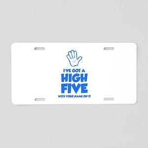 High Five Aluminum License Plate