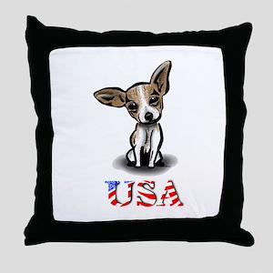 USA Chihuahua Throw Pillow