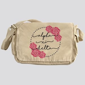 Alpha Xi Delta Sorority Pink Rose Messenger Bag