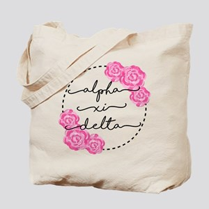 Alpha Xi Delta Sorority Pink Rose Tote Bag