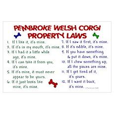 Pembroke Welsh Corgi Property Laws 2 Wall Art Poster