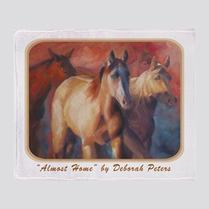 Horse Art Red Throw Blanket
