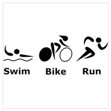 Swim Bike Run Wall Art Poster