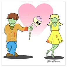 Young Zombie Love Wall Art Poster