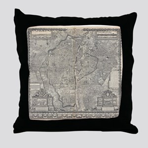 Vintage Map of Paris France (1652) Throw Pillow