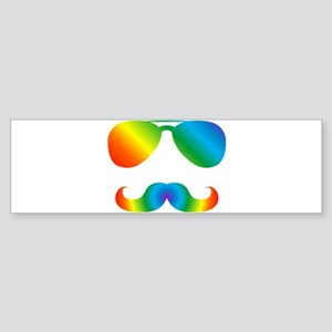 Pride sunglasses Rainbow mustache Bumper Sticker
