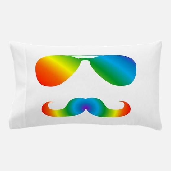 Pride sunglasses Rainbow mustache Pillow Case
