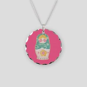 Babushka Doll Necklace Circle Charm