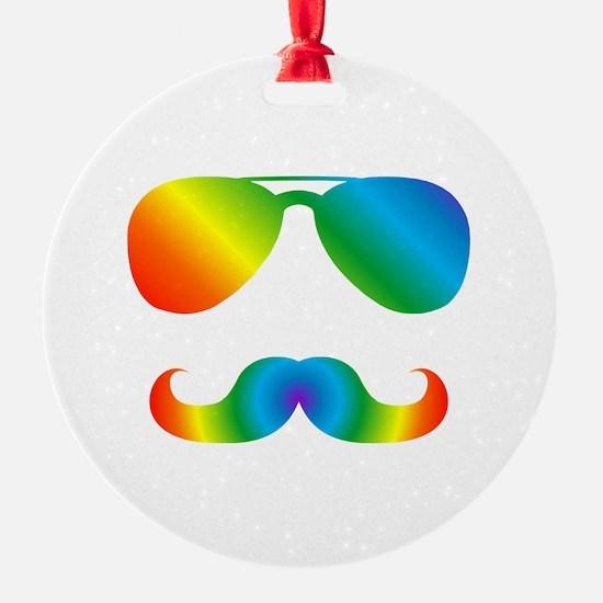 Pride sunglasses Rainbow mustache Ornament