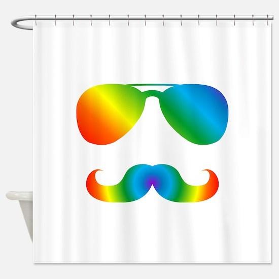 Pride sunglasses Rainbow mustache Shower Curtain
