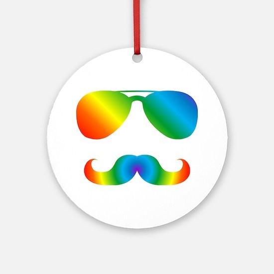 Pride sunglasses Rainbow mustache Round Ornament