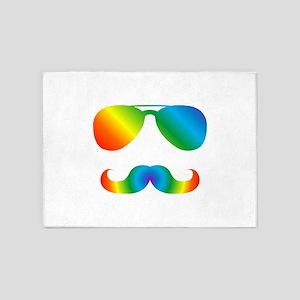 Pride sunglasses Rainbow mustache 5'x7'Area Rug