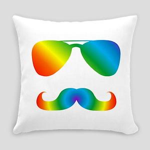 Pride sunglasses Rainbow mustache Everyday Pillow