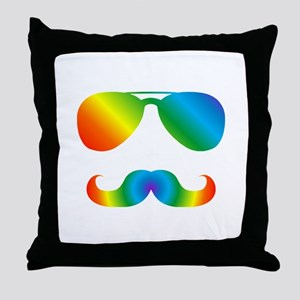 Pride sunglasses Rainbow mustache Throw Pillow