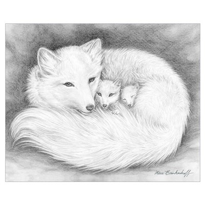 Arctic Fox Family ~ Wall Art Framed Print