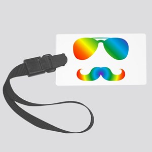 Pride sunglasses Rainbow mustach Large Luggage Tag