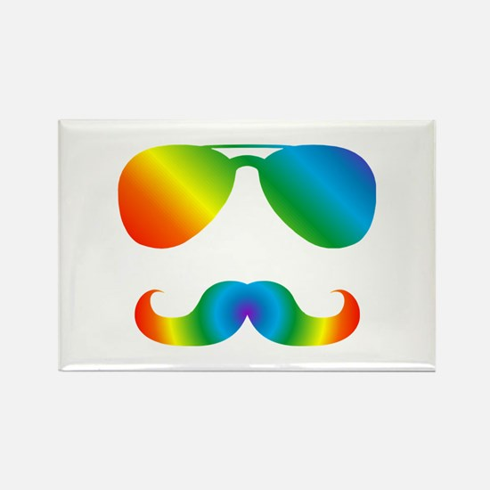 Pride sunglasses Rainbow mustache Magnets