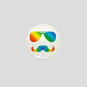 Pride sunglasses Rainbow mustache Mini Button
