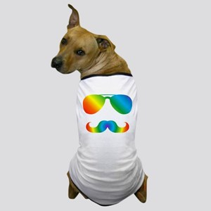 Pride sunglasses Rainbow mustache Dog T-Shirt
