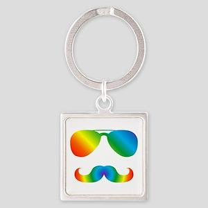 Pride sunglasses Rainbow mustache Keychains