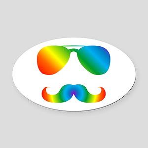 Pride sunglasses Rainbow mustache Oval Car Magnet