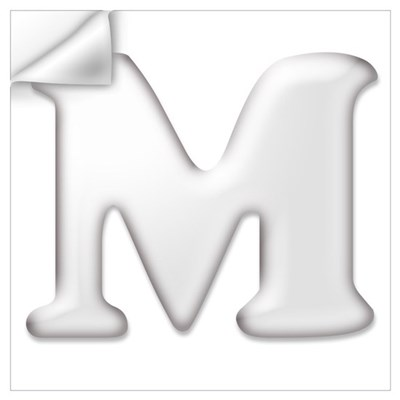 White Letter M Wall Art Wall Decal