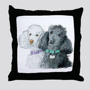 Two Poodles Throw Pillow