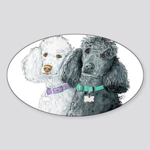 Two Poodles Sticker (Oval)