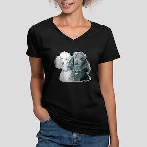 Two Poodles Women's V-Neck Dark T-Shirt