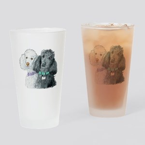 Two Poodles Drinking Glass
