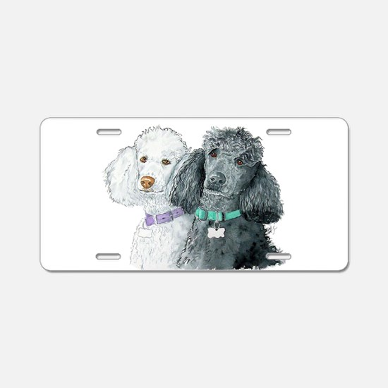 Two Poodles Aluminum License Plate