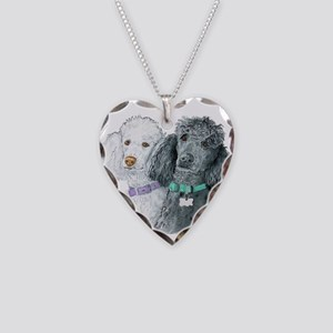 Two Poodles Necklace Heart Charm