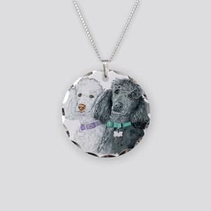 Two Poodles Necklace Circle Charm