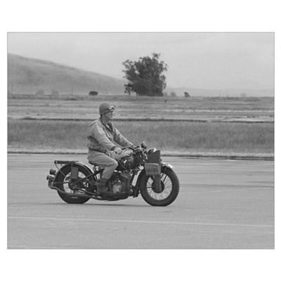 WWII Motorcycle Wall Art Poster