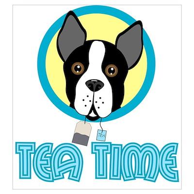 Boston Terrier Tea Party Wall Art Poster