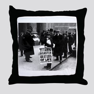 Titanic Newsboy Throw Pillow