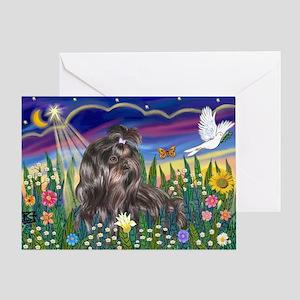 MoonGarden-Shih Tzu (blk) Greeting Card