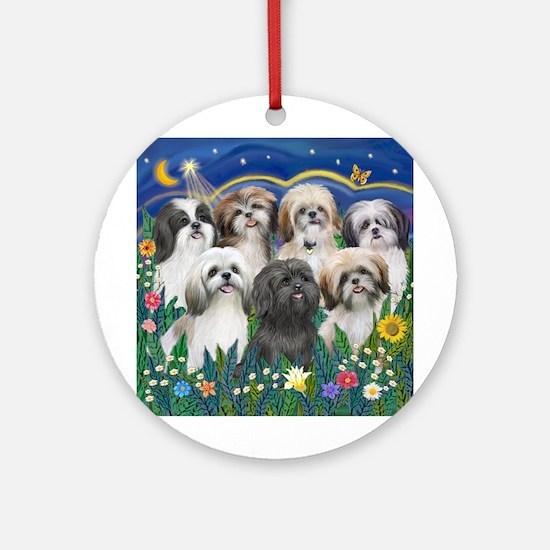 7 Shih Tzu Cuties Ornament (Round)