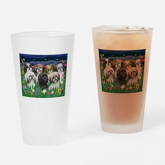 7 Shih Tzu Cuties Drinking Glass