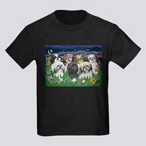 7 Shih Tzu Cuties Kids Dark T-Shirt