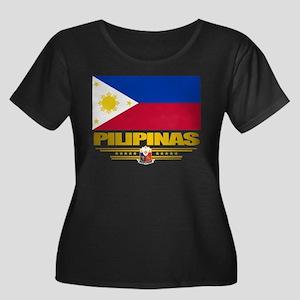 """Pilipinas"" Women's Plus Size Scoop Neck Dark T-Sh"