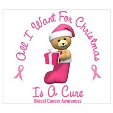 Bear In Stocking 2 (Breast Cancer) Wall Art Poster