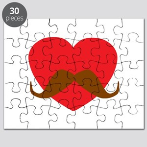 Red Heart Mustache Puzzle