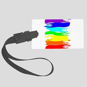 Pride rainbow paint splash Large Luggage Tag