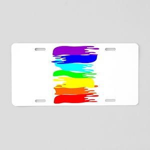 Pride rainbow paint splash Aluminum License Plate