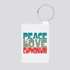 Peace Love Euphonium Aluminum Photo Keychain