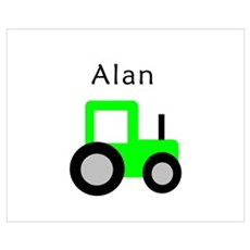 Alan - Lime Tractor Wall Art Poster