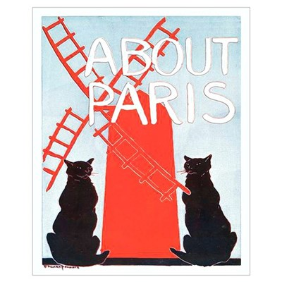 Cats About Paris Vintage Wall Art Poster