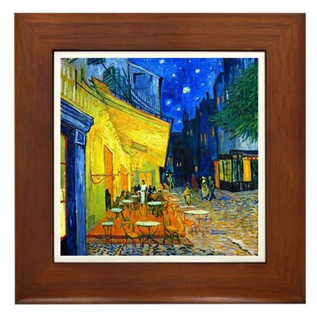 Van Gogh - Cafe Terrace Framed Tile